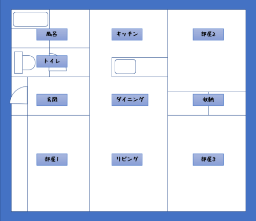 3LDK間取り図例
